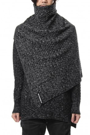 RIPVANWINKLE 18-19AW 7GG Wool Cotton Snood Poncho RB-055 T.Black