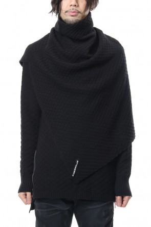 RIPVANWINKLE 18-19AW 7GG Wool Cotton Snood Poncho RB-055 Black