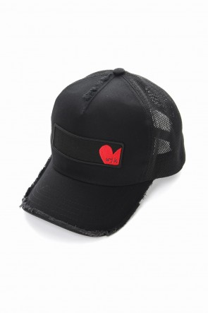 "wjk 18-19AW ""heart"" b.b. cap - blk×red"