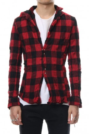 wjk 18-19AW block check hook shirt - red