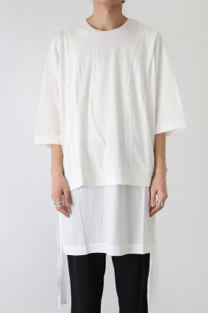 GalaabenD 18SS Ly/C36G 天竺シルケットバイオ OVER SIZE STRIPE TEE LAYERED LONG