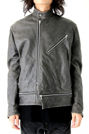 JULIUS17-18AWCOATED GOAT SUEDE ATTACHED RIDERS JACKET