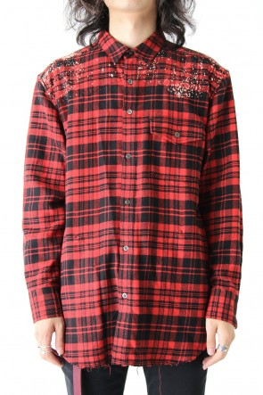 DIET BUTCHER SLIM SKIN 17-18AW Hand Bleached Flannel Check Shirt