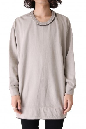 Pigment dyed zipperd loose pullover Greige
