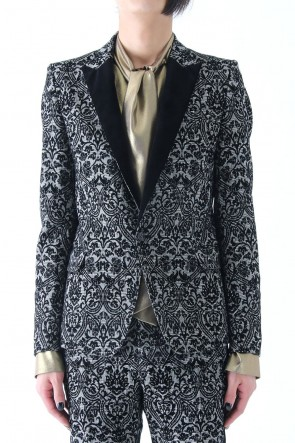 GLEN CHECK ROCOCO FLOCKING PRINT JACKET