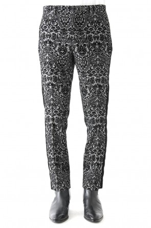 GLEN CHECK ROCOCO FLOCKING PRINT PANTS