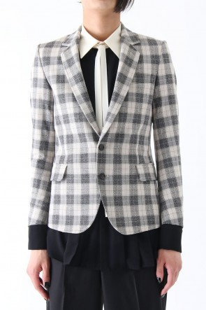 T/RY MELANGE CHECK STRETCH JACKET