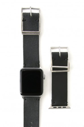 iolom Classic Apple Watch Band - Guidi Calf Reverse Leather - Silver Type 2