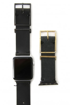 iolom Classic Apple Watch Band - Guidi Calf Leather D.Gray - Brass Type 2