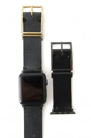 iolom Classic Apple Watch Band - Guidi Reverse Calf Leather D.Gray - Brass Type 2