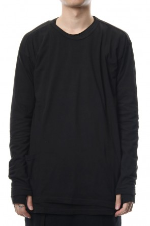 The Viridi-anne 18-19AW Product Dyeing Coloring Stitching Layered Long Sleeve T Black