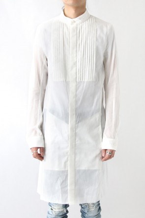 FAGASSENT 18SS Classic Pleeted White Thin Loan Shirt With Crawling Sleeve Pattern