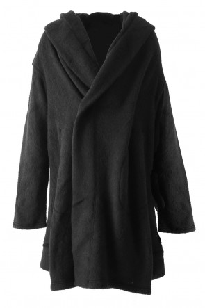Boucle Seed Stitch Air Shaggy Hooded Cardigan - divka