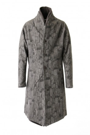 individual sentiments 16-17AW Layered Coat Jacquard Sumi Dyed