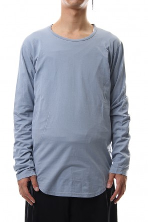 KAZUYUKI KUMAGAI 19-20AW 80/2 Tightness plain stitches crew neck L/S cut&sewn L-Blue