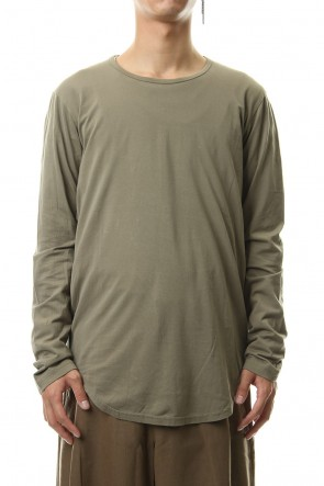 KAZUYUKI KUMAGAI 19-20AW 80/2 Tightness plain stitches crew neck L/S cut&sewn L-KhakiGray