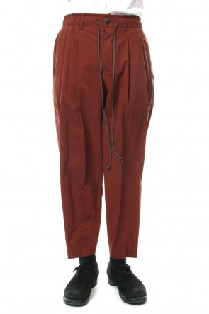 KAZUYUKI KUMAGAI 19SS Ny Stretch Tafta Easy Wide Taparerd Pants Brown
