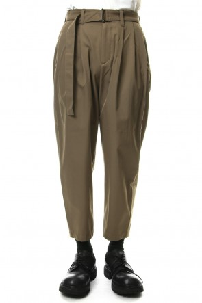 KAZUYUKI KUMAGAI 19SS 80/2 Hard Twist Gabadine Wide Tapered Pants With Belt Khaki Gray