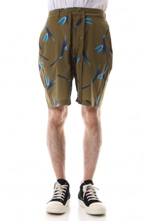 KAZUYUKI KUMAGAI 19SS T400 Stretch Tafta Print Easy Shorts X.Brown