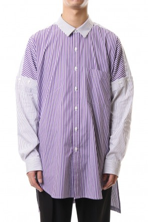 KAZUYUKI KUMAGAI 20SS 50/1Stretch striped drop shoulder 2WAY Regular collar shirt L/S S.Purple