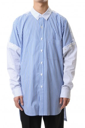 KAZUYUKI KUMAGAI 20SS 50/1Stretch striped drop shoulder 2WAY Regular collar shirt L/S S.Blue