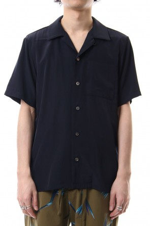 KAZUYUKI KUMAGAI 19SS High Count Cupra Crepe de Chine Open Collared Shirt S/S Navy