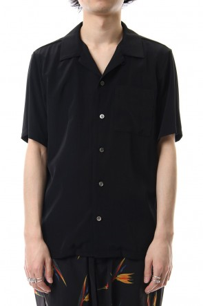 KAZUYUKI KUMAGAI 19SS High Count Cupra Crepe de Chine Open Collared Shirt S/S Black