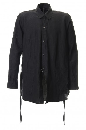 KAZUYUKI KUMAGAI 19SS Cu/Ry/Ra Broadcloth Crossover Cardigan L/S 2way Shirt Black