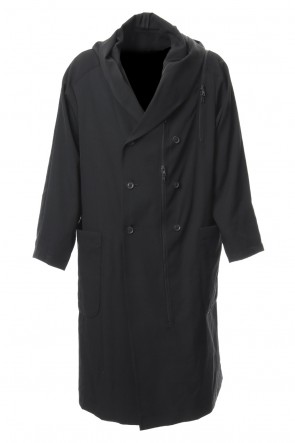 B Yohji Yamamoto 18-19AW Hooded Double Fastener Long Coat - NV-C52-100