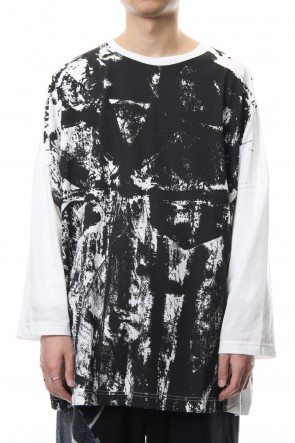 B Yohji Yamamoto 18-19AW Switch roller print long sleeve T-shirt   NV-T55-071