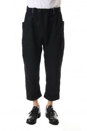 WARE 19-20AW Cotton Drill Raised Back Cropped Pants Black
