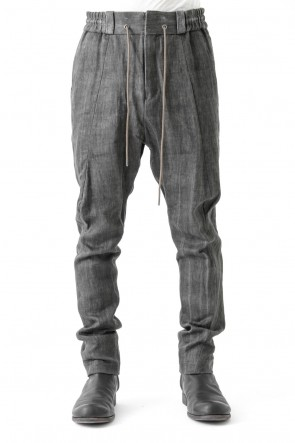 DEVOA 17SS Easy Pants Linen Denim Charcoal Dyed