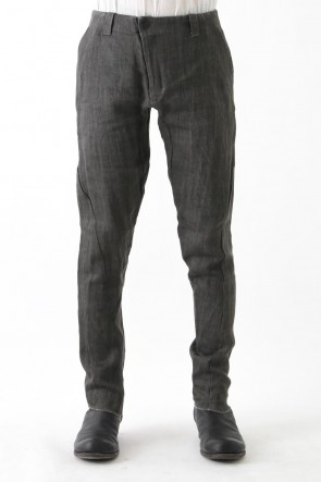 DEVOA 17SS Slim Pants Linen Denim Charcoal Dyed
