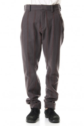 DEVOA 19-20AW Shetland Wool Linen Stripe Batting Anatomical Pants Gray