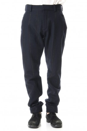 DEVOA 19-20AW Shetland Wool Linen Stripe Batting Anatomical Pants Dark Navy