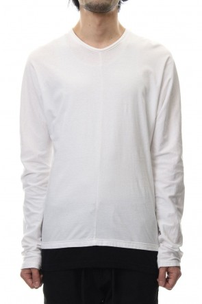 RIPVANWINKLE 19SS LAYERED DOLMAN L/S T-SHIRT White×Black