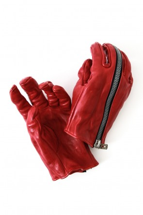Horse Leather Zip Gloves  Red- Saddam Teissy