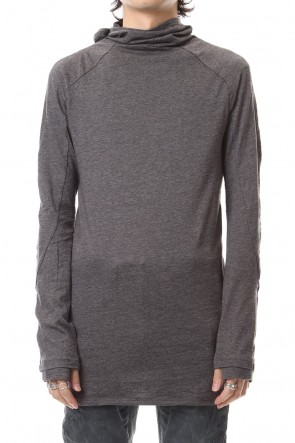 D.HYGEN 19-20AW Yak india Gauze balaclava Hooded long sleeve T-shirts - ST101-0079A Charcoal