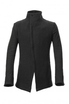 SADDAM TEISSY 19-20AW Hand dyed linen x Fleece needle punch High neck jacket Black - ST104-0049A