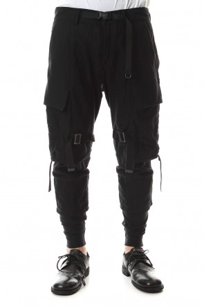 D.HYGEN 20SS Stainless Mixed Silk Cotton Layered Cargo Cropped Pants