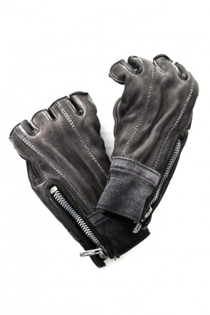 SADDAM TEISSY19SSHorse leather cold dyed finger-less glove Gray - ST109-0019S