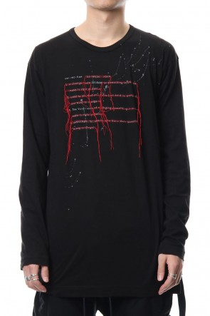 The Viridi-anne 18-19AW Print & Stitch Long Sleeve T Black × Red