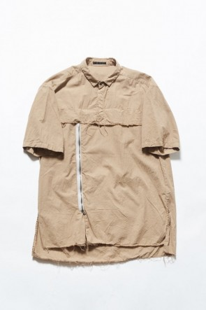 The Viridi-anne 19SS Asymmetric short sleeve shirt Khaki