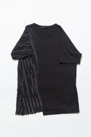The Viridi-anne 19SS Border combination short sleeve T-shirt Black Stripe / Black