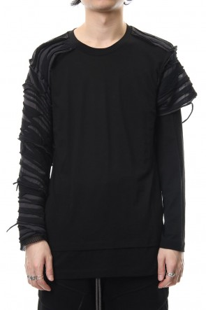 The Viridi-anne 19SS Border combination long sleeve T-shirt Black Stripe / Black