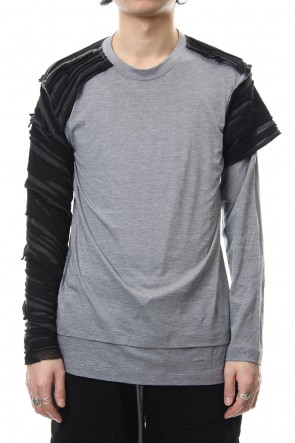 The Viridi-anne 19SS Border combination long sleeve T-shirt Black Stripe / Gray