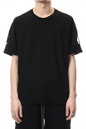 The Viridi-anne 19SS Hard twist jersey stitch roll up sleeve t-shirt Black