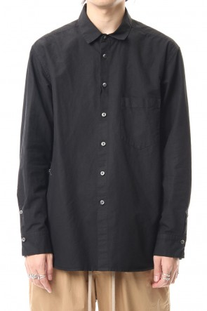 The Viridi-anne 19-20AW Cotton Linen Plane Shirt - Black
