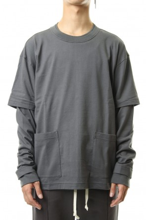 The Viridi-anne19-20AWJersey stitch Long sleeve Pocket T - Gray