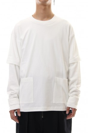 The Viridi-anne19-20AWJersey stitch Long sleeve Pocket T - White